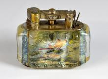 A Dunhill Aquarium table lighter, the lucite panel