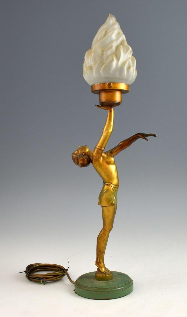 Art Deco patinated spelter figural lamp, dancing g