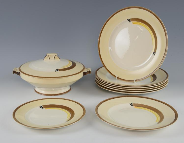 Art Deco part dinner service by H&K Tunstall comp
