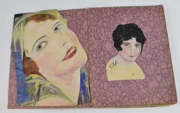 Sketchbook containing watercolour portraits and hu