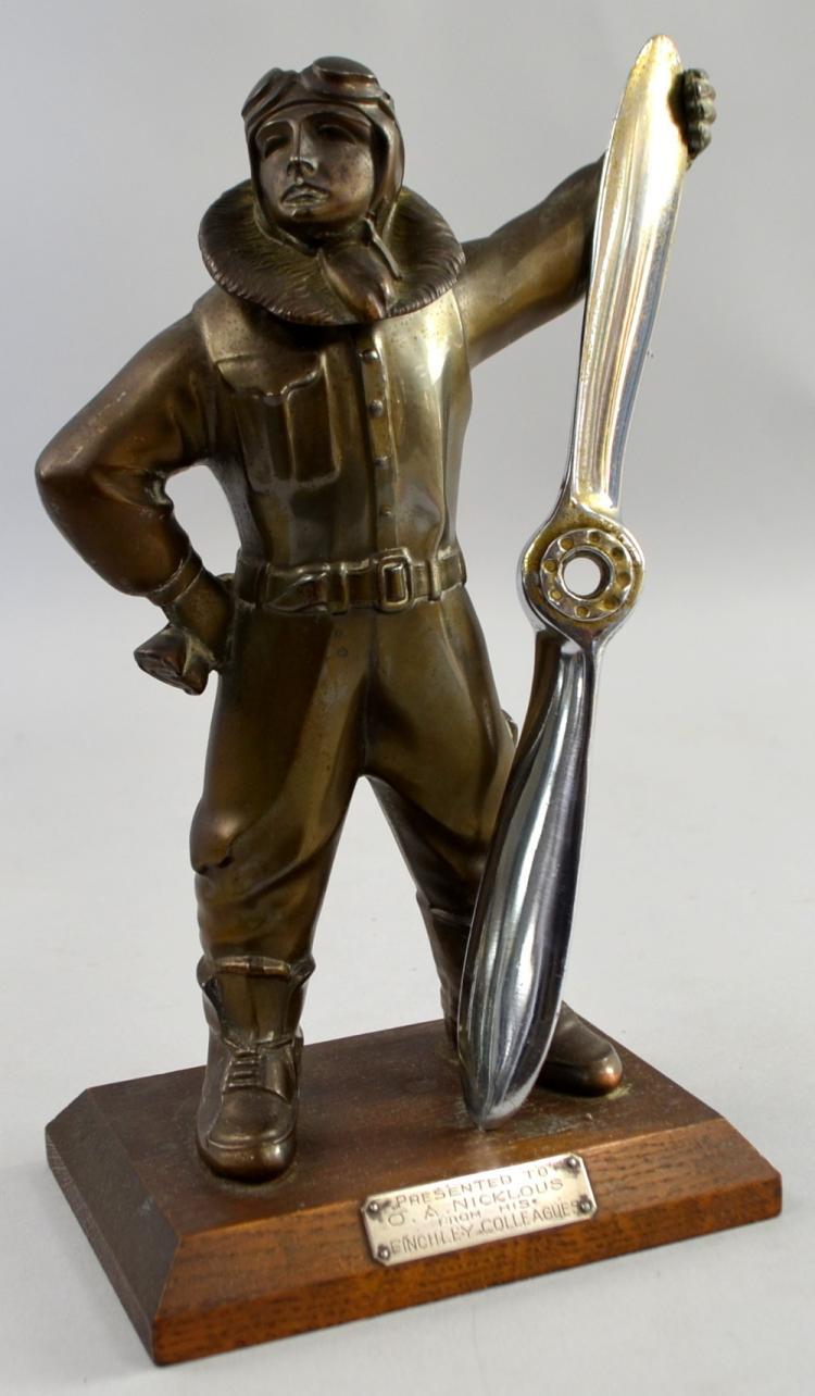 A 1920's novelty spelter table lighter in the form