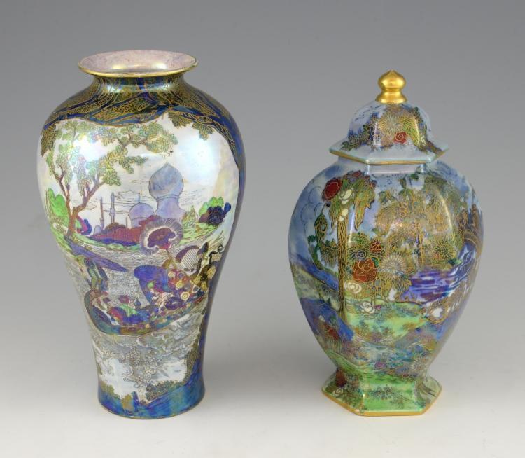 A large Wilton ware lustre vase, depicting a lady