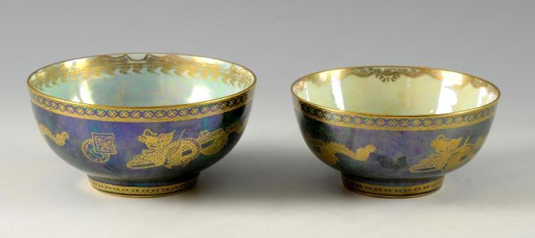 Two Wedgewood lustre bowls, both with dragons on a