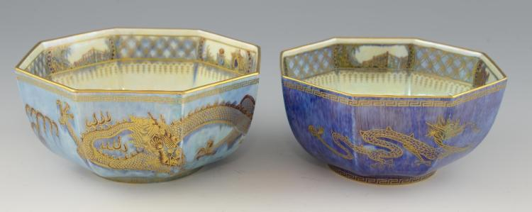 Two Wedgwood lustre bowls of octagonal form, decor