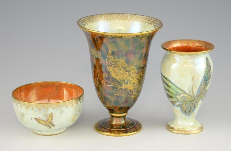 Three items of Wedgwood lustre, each decorated wit