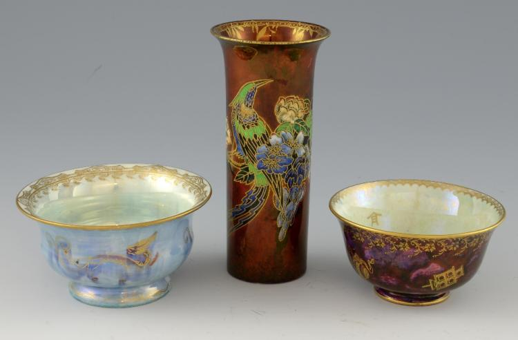 A Wedgwood dragon lustre bowl, the centre with fla