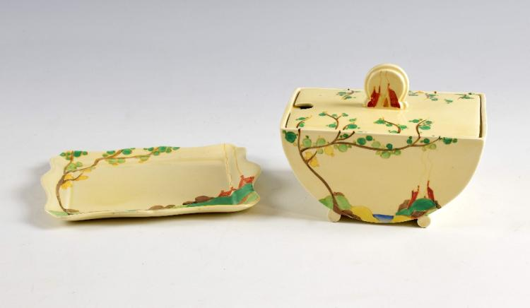 Clarice Cliff Biarritz Secrets pattern tureen and
