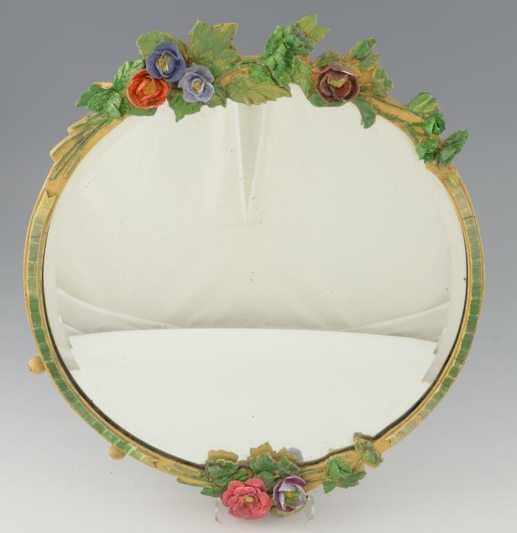 Barbola gesso work floral wall mirror, 1930's dia