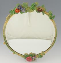 Barbola gesso work floral wall mirror, 1930's dia