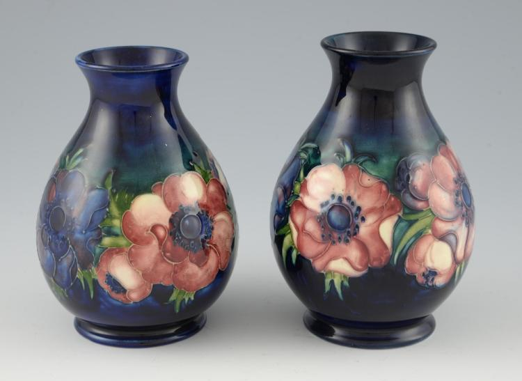A pair of Moorcroft anemone pattern vases, ovoid