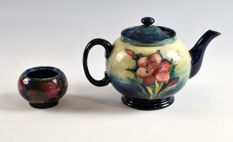 Moorcroft spring flowers teapot, inscribed and pai