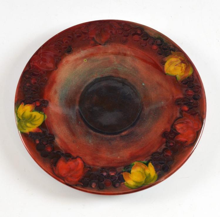 Moorcroft Leaf and Berry pattern flambe dish, impr