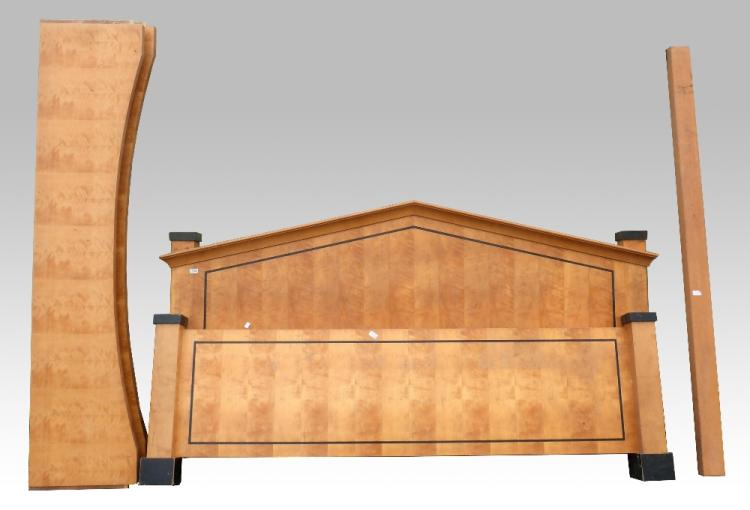 Late Biedermeier king sized Bed, in birch with da
