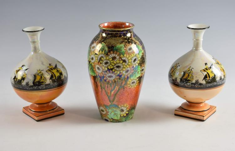 Art Deco lustre vase by Maling, decorated in the