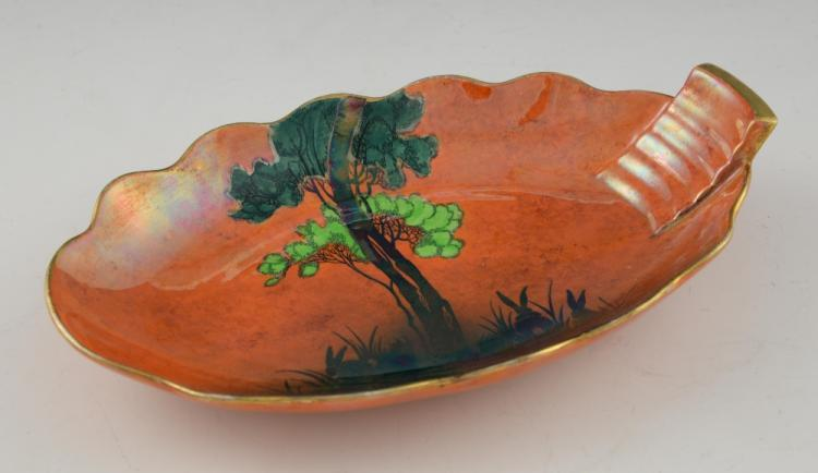 Carlton ware an Art Deco lustre dish, with enamel