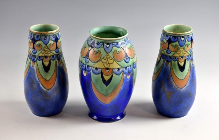 A Crown Devon 'Cretian' pattern vase, tube lined a