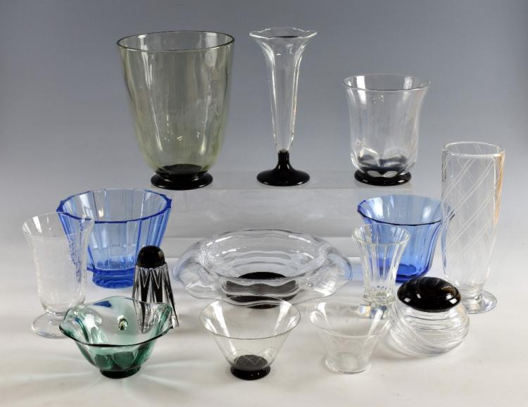 Edvard Hald for Orrefors, a clear glass vase with