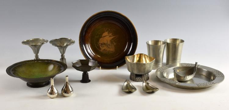 A group of Danish, Just Andersen bronze and pewter