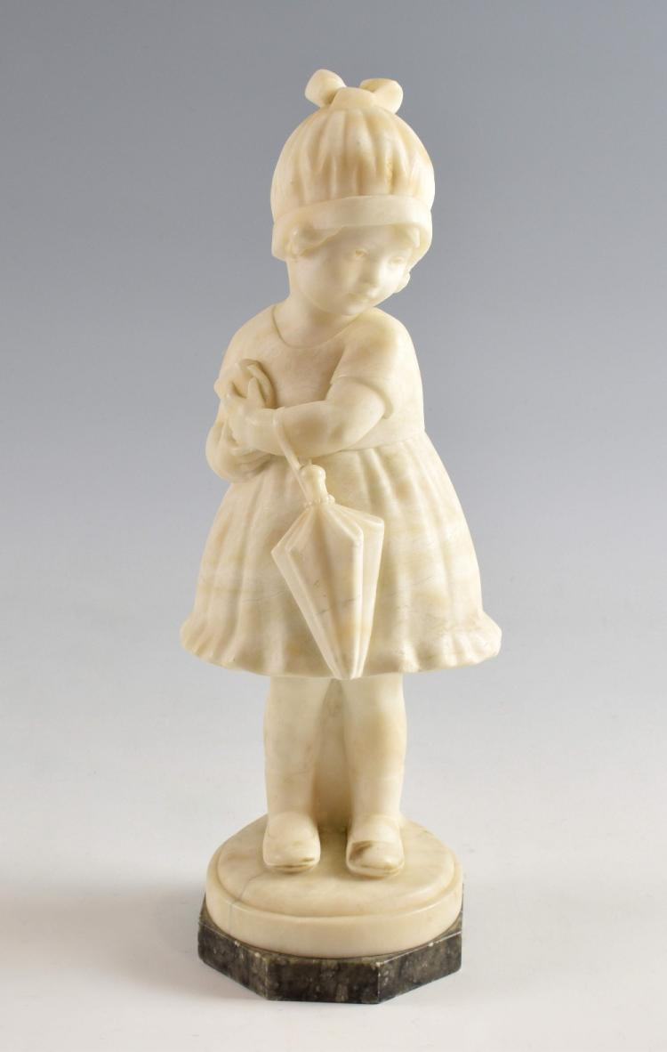 Art Deco carved alabaster figure of a young girl h
