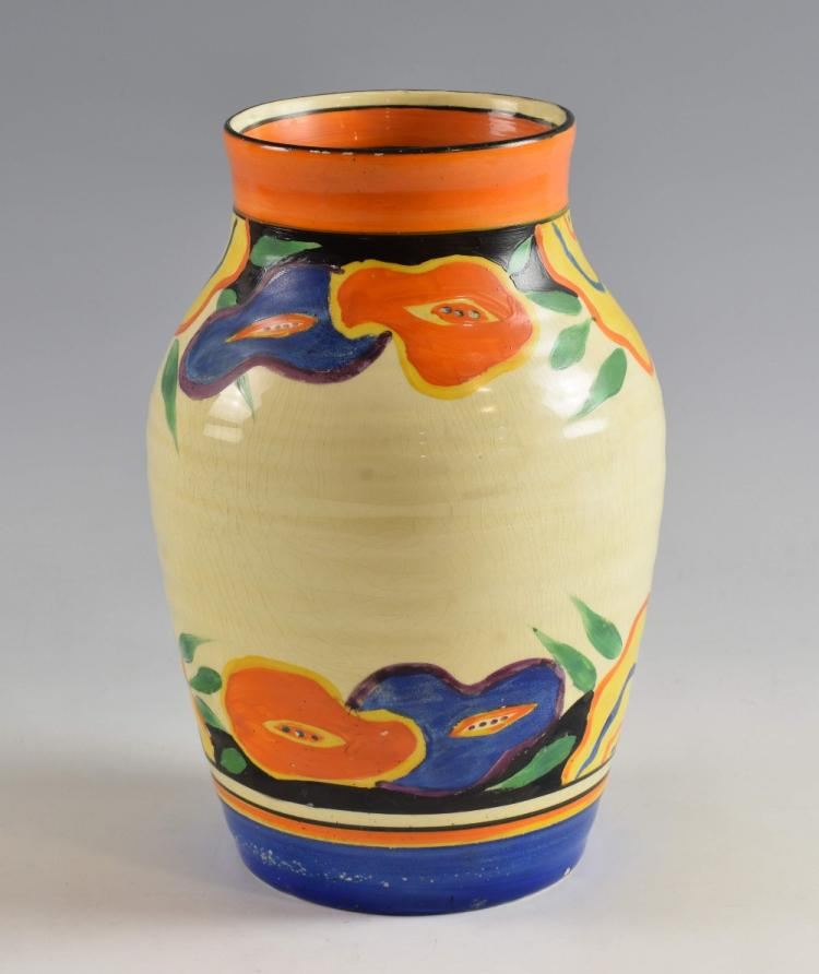 Clarice Cliff Large Isis Shape Ribbed Vase Painted