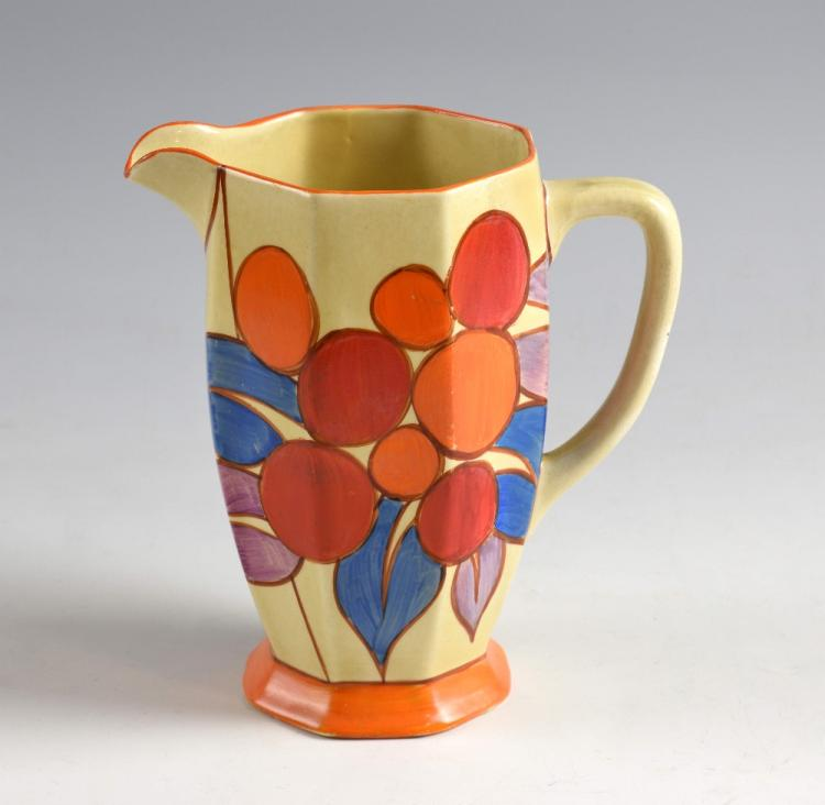 Clarice Cliff Fantasque jug,abstract leaf and berr