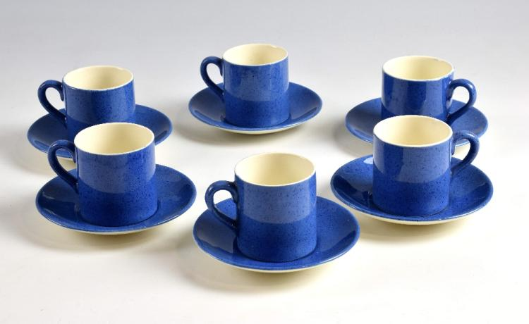 Moorcroft Powder Blue ,set of six coffee cups and