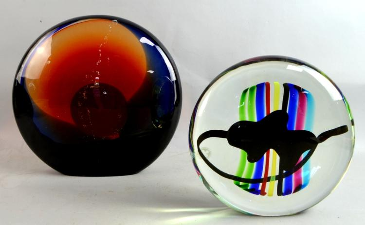 Two Murano glass sculptures, each a flattened sph