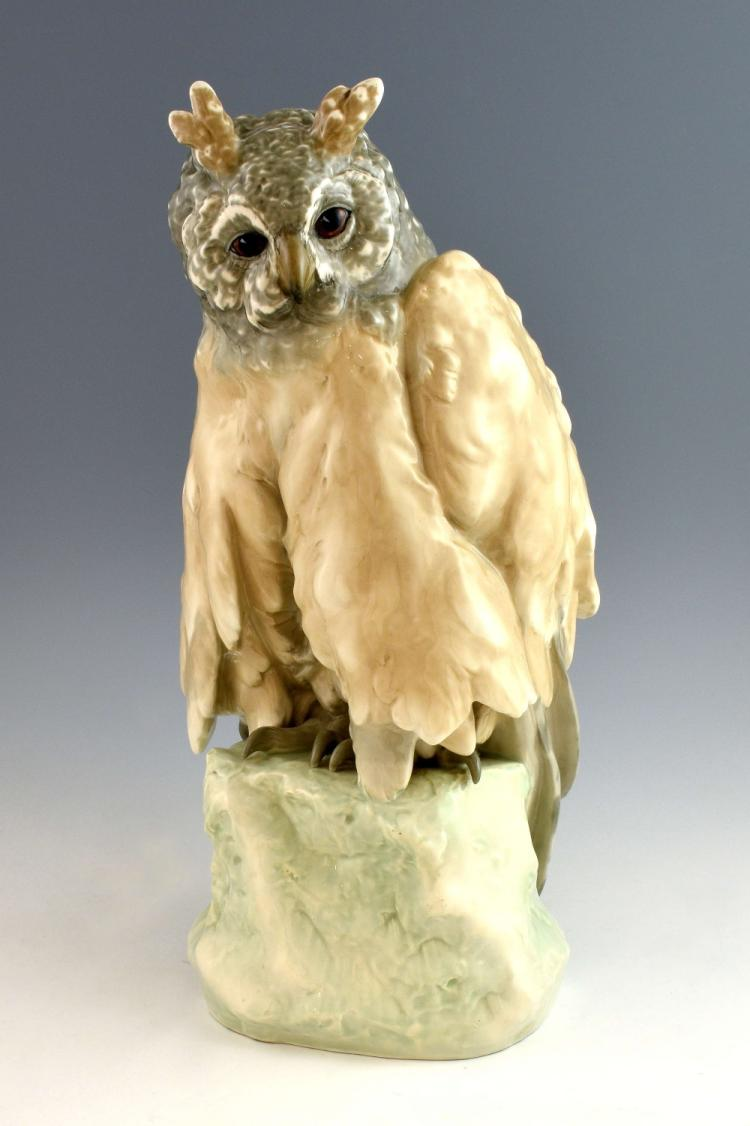 Amphora Pottery, large glazed owl, Czecho-Slovak