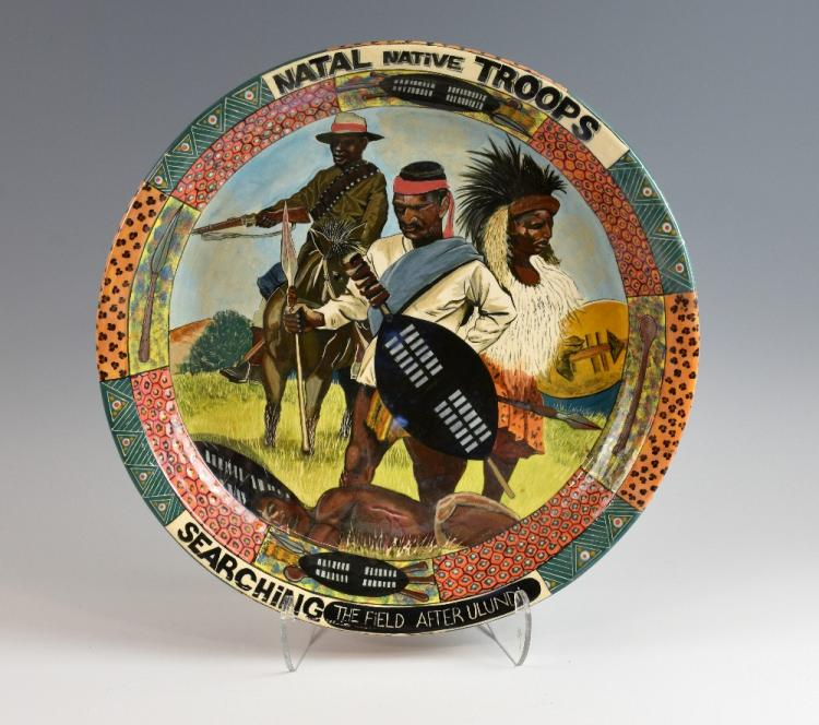 Ardmore pottery plate, Natal Native Troops Searchi