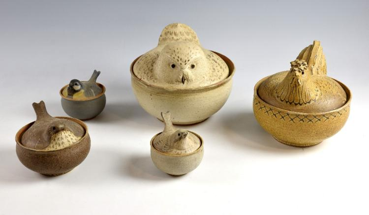Barbara Coll Five bowls and covers in the form of