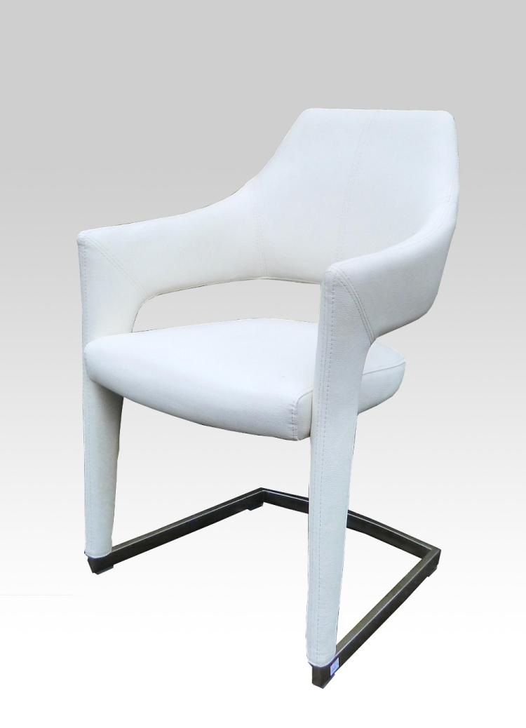 Set of contemporary white leather cantilevered d