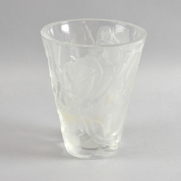 Lalique glass vase with frosted rose decoration,