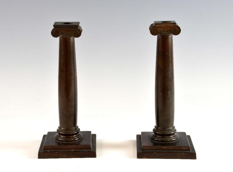 Pair of American copper candlesticks by Gorham on