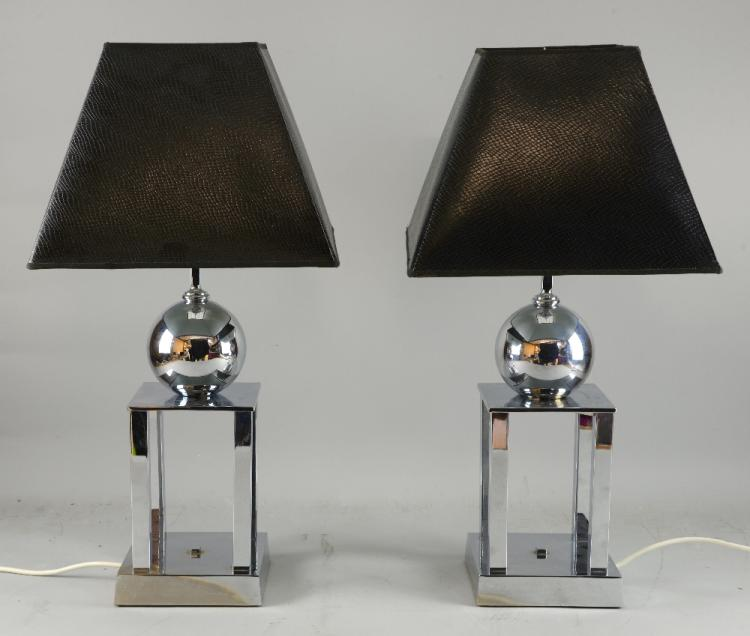 Pair of contemporary chrome lamp bases with spher