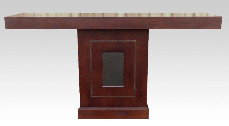 Pair of contemporary console tables, with central