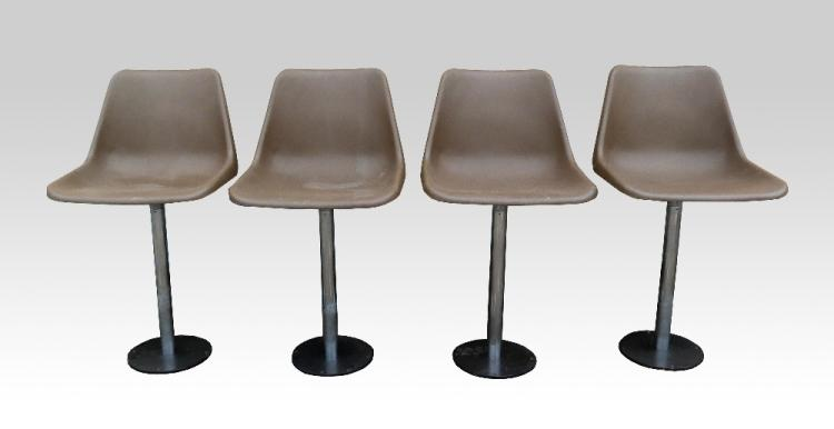 Robin Day for Hille swivel bar stools with brown p