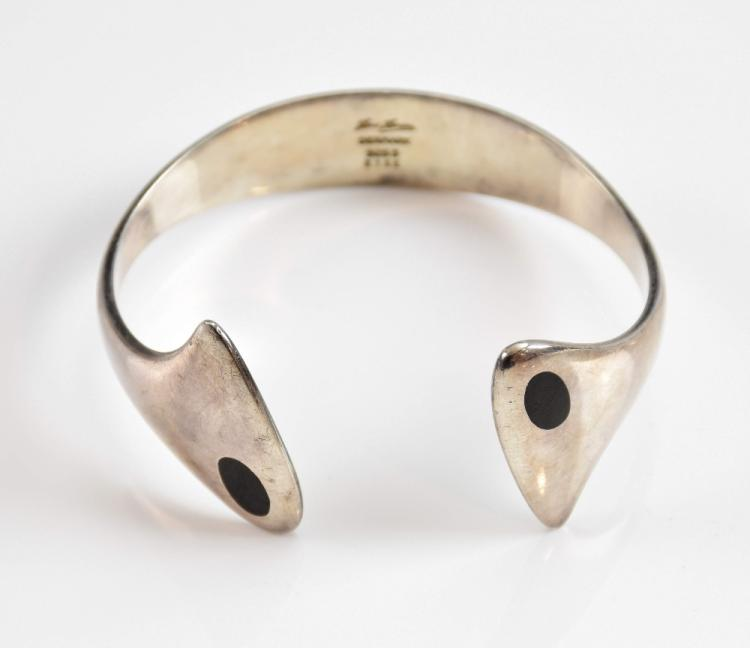 Hans Hanson vintage silver open bangle, sculptural
