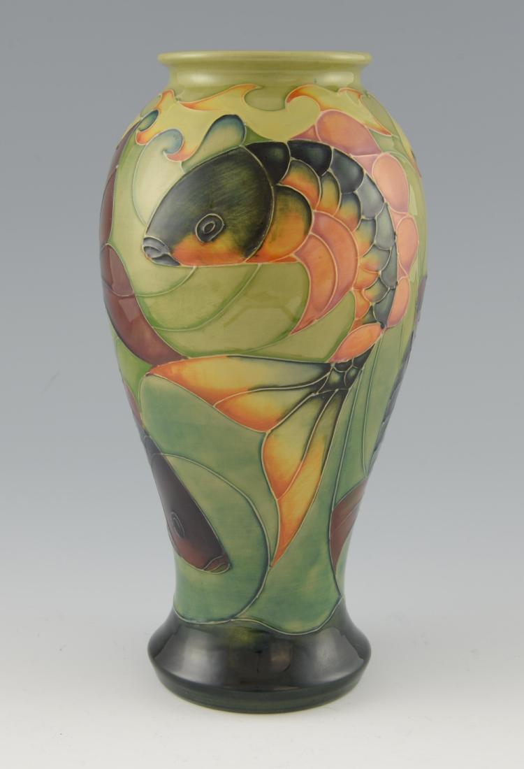 Moorcroft large ovoid vase decorated with Carp, ag