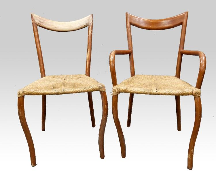 Four mid century bentwood chairs, two with arms,