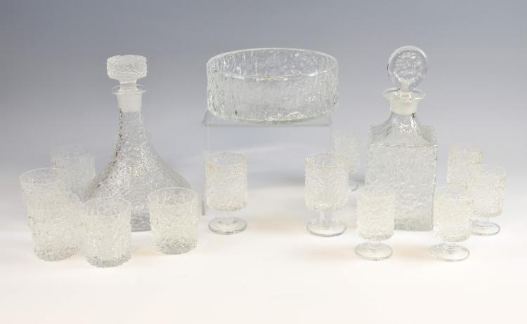 Whitefriars Glacier 1970s collection of glass to i
