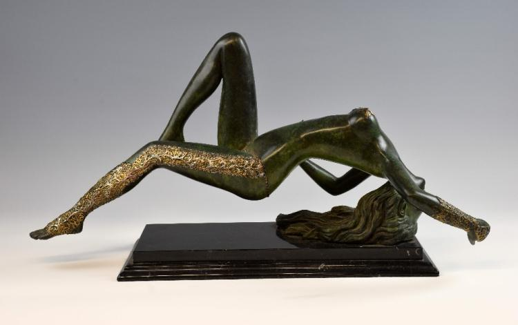 Bronze figure of a water nymph, green patinated fi