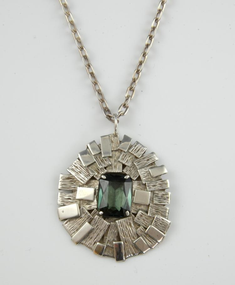 1970's silver pendant, centrally set with rectangu