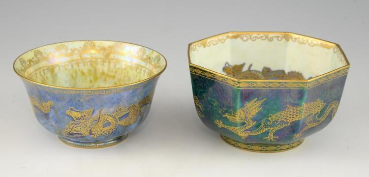 Two Wedgwood lustre dragon bowls, an octagonal bow