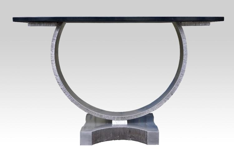 Contemporary marble topped console table, bow fr