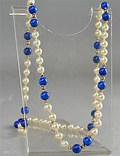 Lapis and cultured pearl necklace