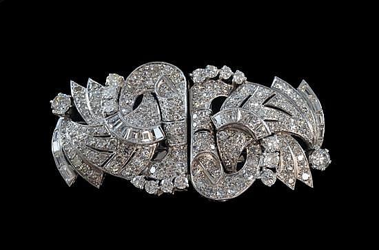 Art Deco diamond and platinum double clip brooch.