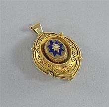 Victorian bloomed gold pendant with enamel star and seed pearl