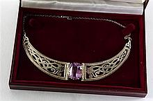 Kunzite stone and silver necklace