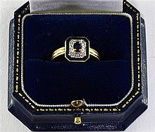 Sapphire and blue enamel Art Deco style ring, 14ct gold