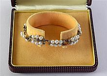 Mikimoto pearl and silver panel bracelet, cased